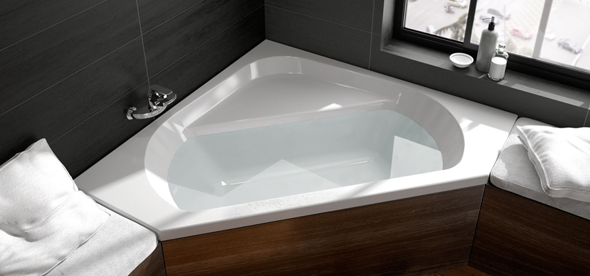 Baignoire d 39 angle maestro d 39 angle aquarine for Baignoire contemporaine design