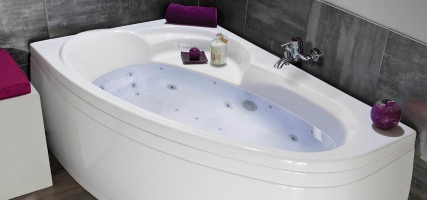 Baignoire d 39 angle baln o baignoire droite spa - Baignoire balneo asymetrique ...