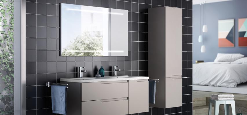 Meuble de salle de bain sans poign e matrice aquarine - Poignee meuble salle de bain ...