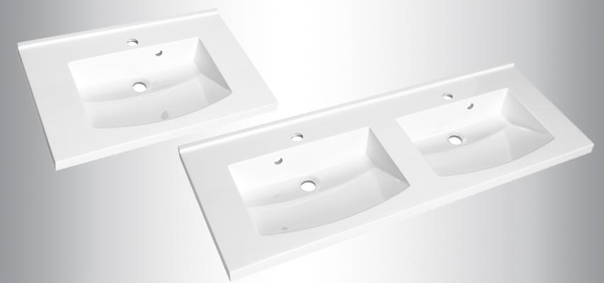 Plans de toilette en polyb ton mind aquarine for Double vasque 110 cm