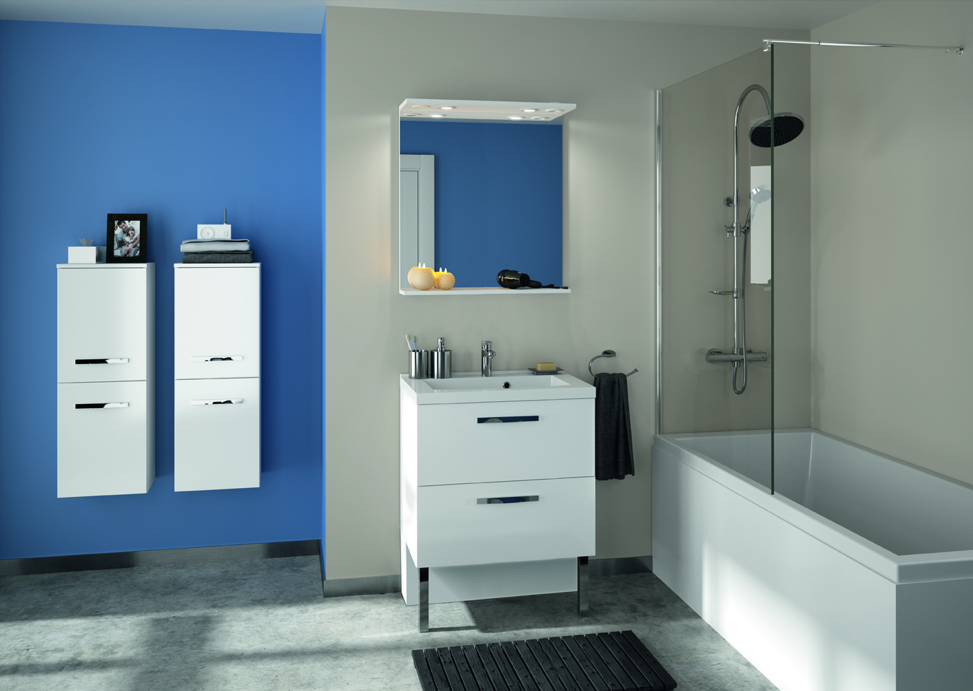 Salle De Bain Parement Baignoire ~ meuble de salle de bain prefixe tiroirs aquarine