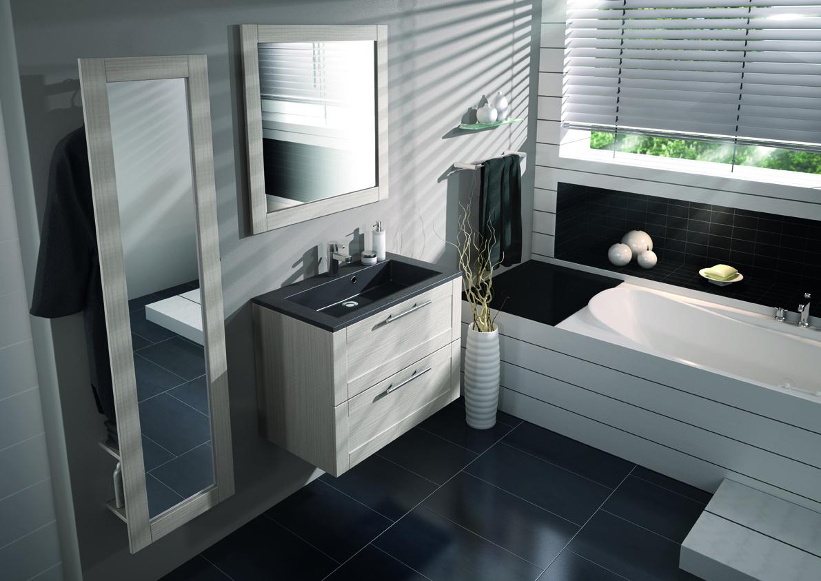 Meuble sous vasque salle de bain bois for Meuble 80x50