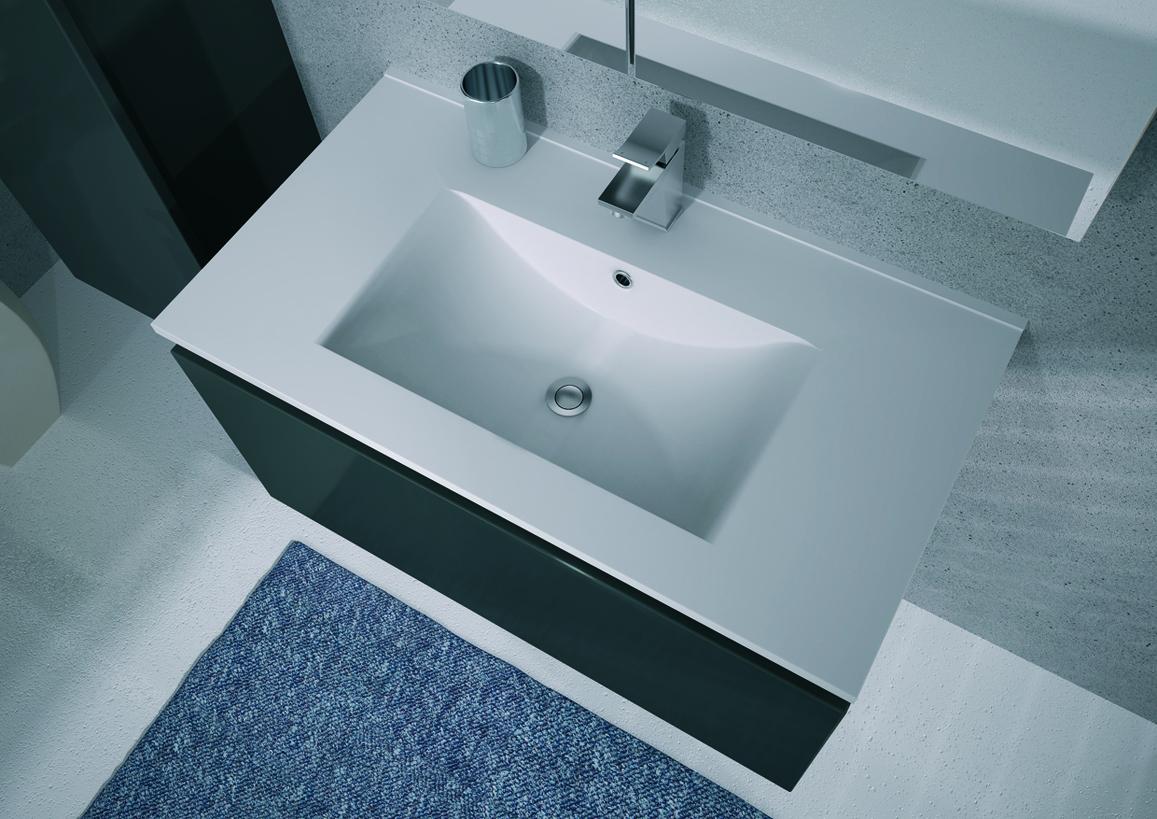 Meuble de salle de bain mineral aquarine - Meuble simple vasque 120 cm ...