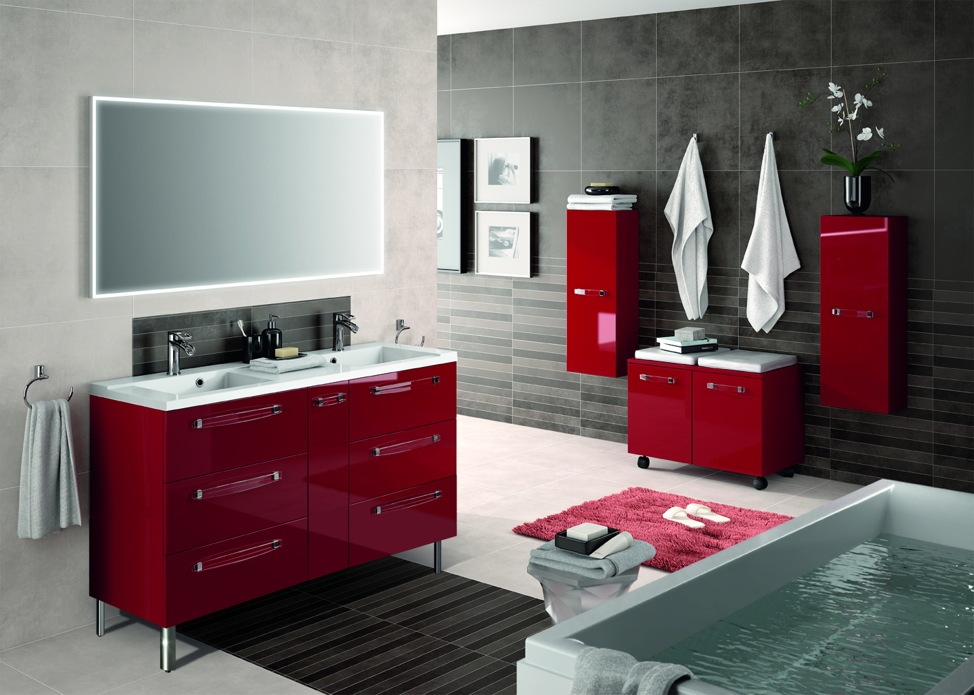 meuble salle de bain rouge ikea maison design. Black Bedroom Furniture Sets. Home Design Ideas
