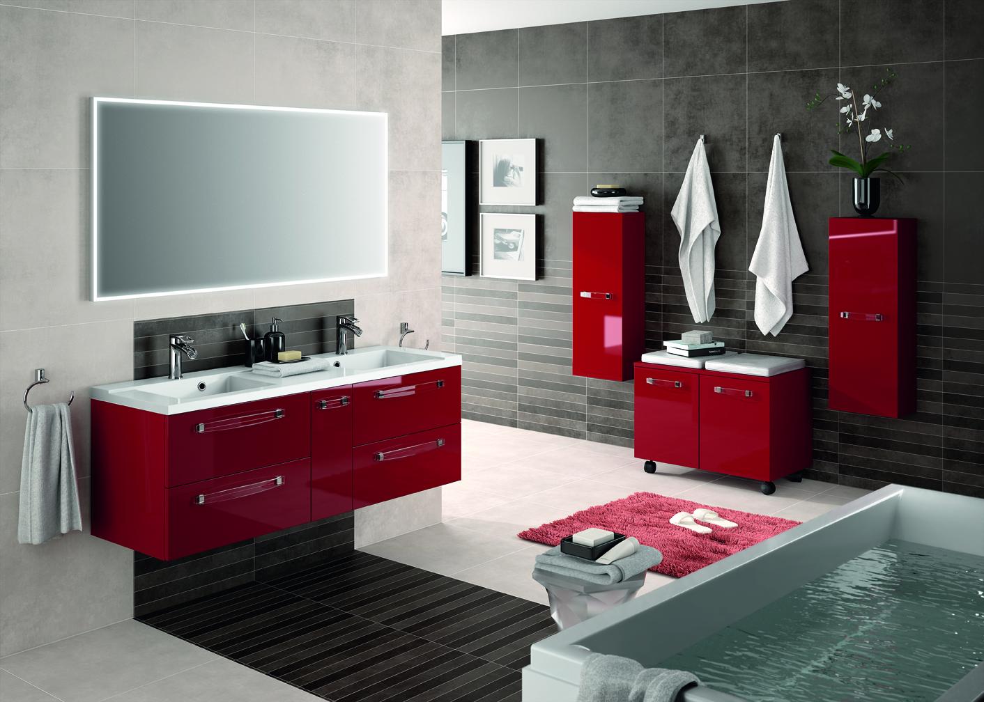 Meuble de salle de bain suspendre brooklyn a suspendre aquarine - Meuble salle de bain rouge ikea ...