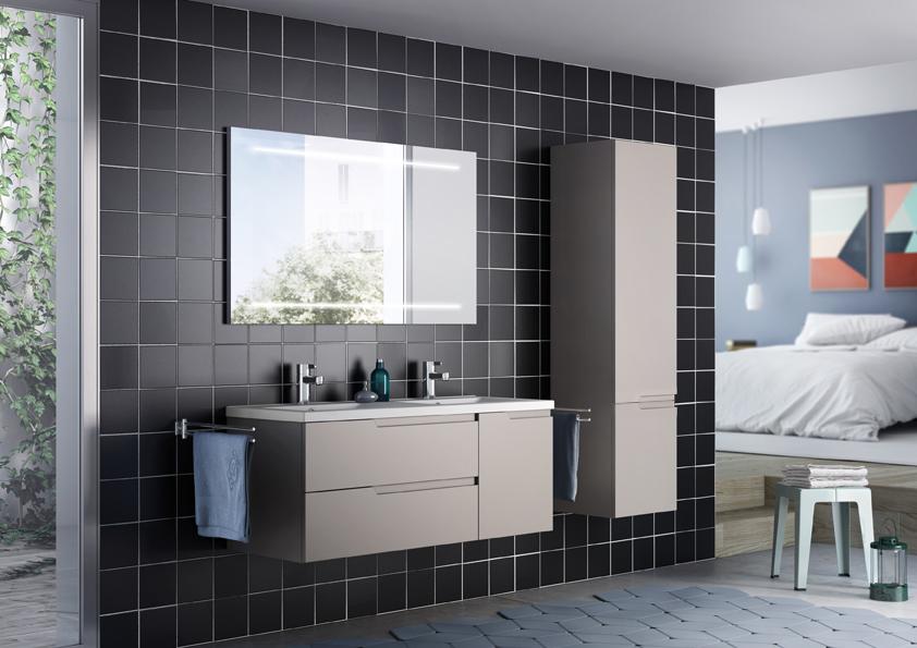 Meuble de salle de bain avec prise de main matrice Eclairage meuble de salle de bain