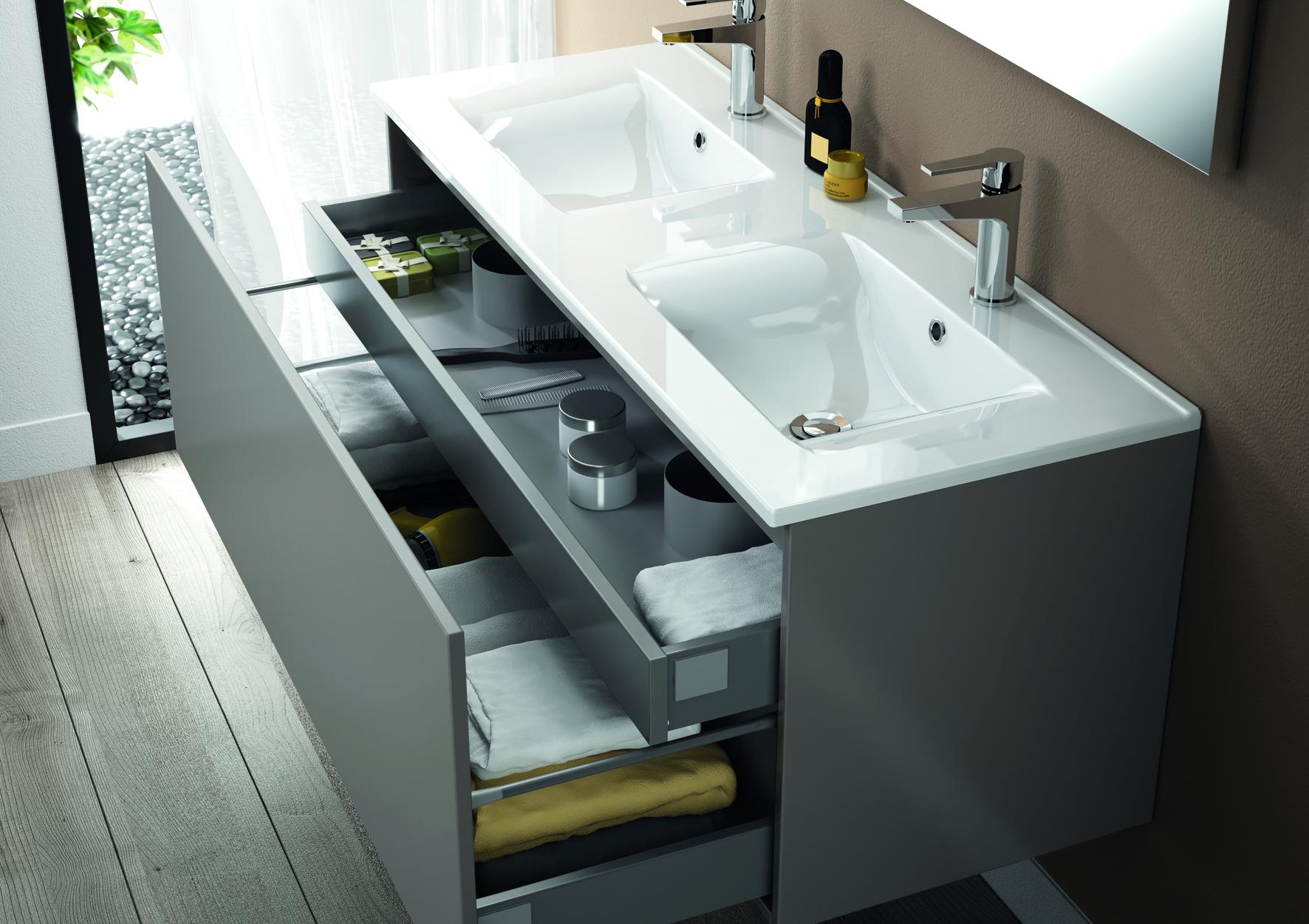Meuble de salle de bain mineral aquarine for Double vasque salle de bain ceramique