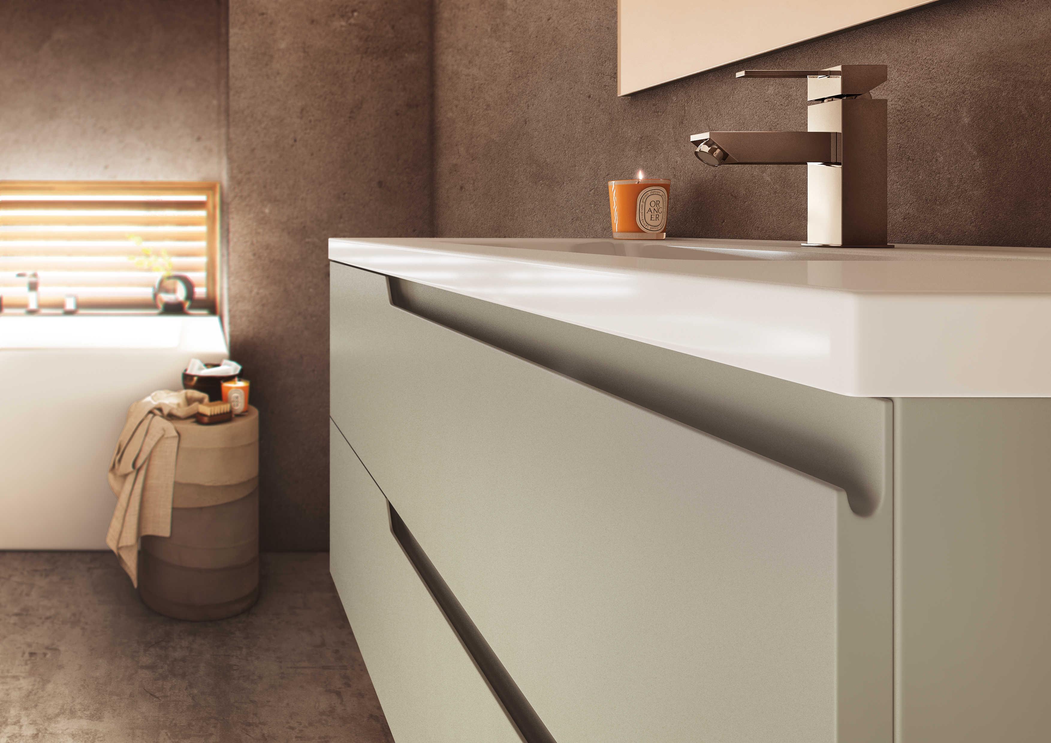 Meuble de salle de bain avec prise de main matrice for Meuble salle de bain aquarine