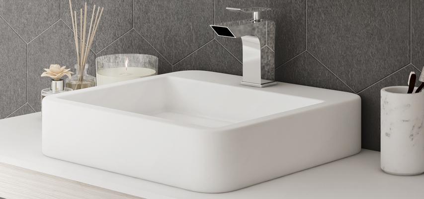 vasque carree Vasque à poser en céramique carrée MELKIA
