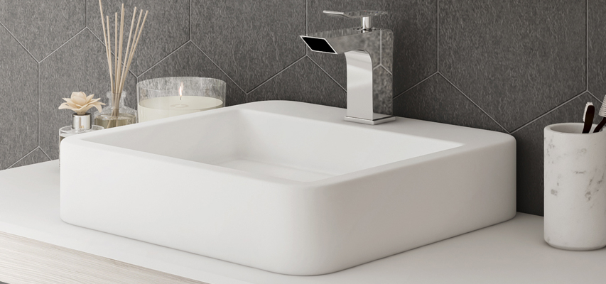 vasque carre a poser Vasque à poser en céramique carrée MELKIA