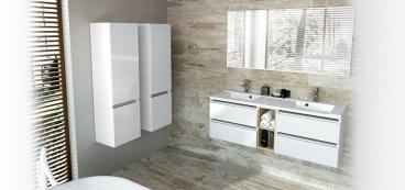 Meuble salle de bain 100 cm 105 cm 120 cm - Meuble a roulette salle de bain ...