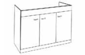 Sous-éviers meuble LIBERTY 3 portes 140 cm