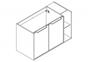 NEWPORT Meuble sous-plan de toilette avec poignées - 2 portes et 1 niche - 100 cm