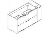 NEWPORT Meuble sous-plan de toilette avec poignées - 2 tiroirs et 1 flaconnier - 120 cm