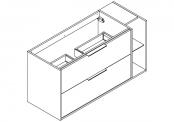 NEWPORT Meuble sous-plan de toilette avec poignées - 2 tiroirs et 1 niche - 120 cm