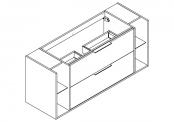 NEWPORT Meuble sous-plan de toilette avec poignées - 2 tiroirs et 2 niches - 140 cm