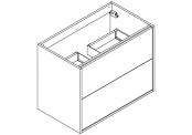 NEWPORT Meuble sous-plan de toilette avec système push-pull - 2 tiroirs - 80 cm