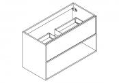 NEWPORT Meuble sous-plan de toilette avec système push-pull - 1 tiroir et 1 niche - 100 cm