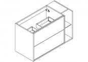 NEWPORT Meuble sous-plan de toilette avec système push-pull - 2 tiroirs et 1 niche - 100 cm