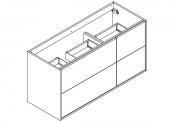 NEWPORT Meuble sous-plan de toilette avec système push-pull - 4 tiroirs - 120 cm