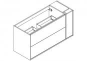 NEWPORT Meuble sous-plan de toilette avec système push-pull - 2 tiroirs et 1 flaconnier - 120 cm