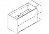 NEWPORT Meuble sous-plan de toilette avec système push-pull - 2 tiroirs et 1 niche - 120 cm